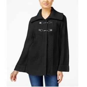 JM Collection Petite Toggle-Front Cardigan Black